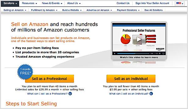 บัญชีผู้ขาย amazon